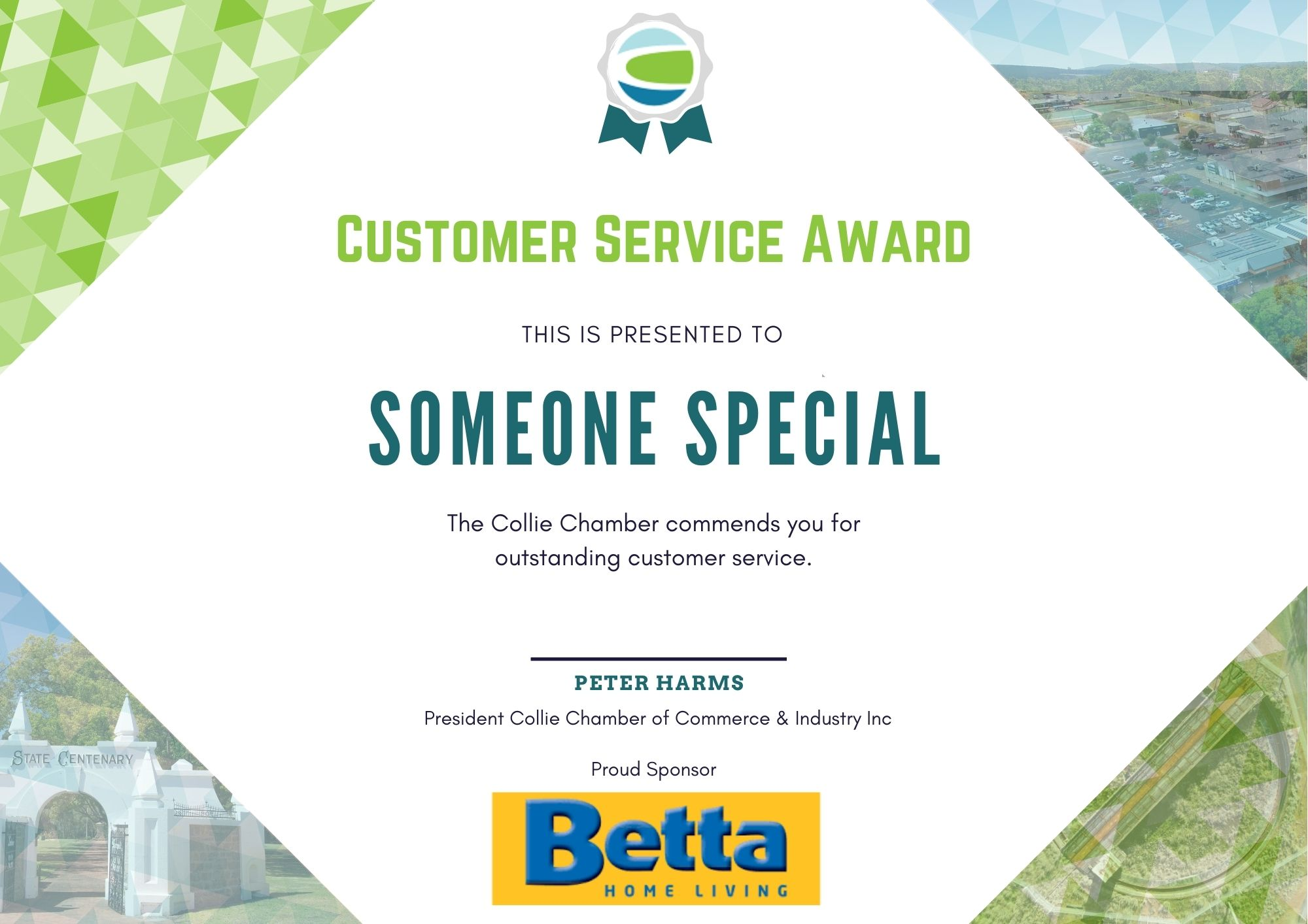 Customer Service A4 Certificate Background